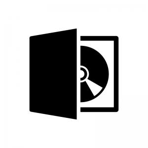 ディスクケースに入ったCDやDVDなどの白黒シルエットイラスト
