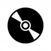 CDやDVDなどのディスクの白黒シルエットイラスト
