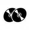 CDやDVDなどのディスクの白黒シルエットイラスト02