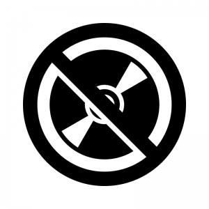 ディスクへのコピー禁止の白黒シルエットイラスト