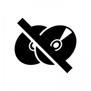 ディスクへのコピー禁止の白黒シルエットイラスト02