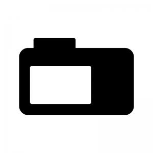 コンデジの背面の白黒シルエットイラスト