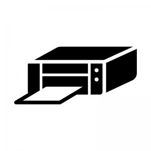 インクジェットプリンターの白黒シルエットイラスト02