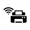 Wi-Fi機能付きプリンターの白黒シルエットイラスト