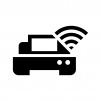 Wi-Fi機能付きプリンターの白黒シルエットイラスト02