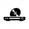 ブルーレイ・DVDプレイヤーとディスクの白黒シルエットイラスト
