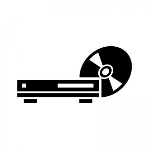 ブルーレイ・DVDプレイヤーとディスクの白黒シルエットイラスト02