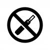 電子タバコ禁止の白黒シルエットイラスト