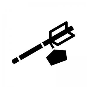 縁起物・絵馬付きの破魔矢の白黒シルエットイラスト
