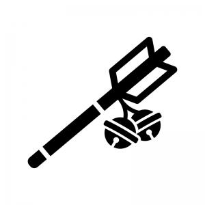 縁起物・鈴が付いた破魔矢の白黒シルエットイラスト