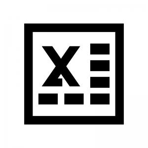 Excel(エクセル)ファイルの白黒シルエットイラスト