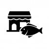 お魚屋さんの白黒シルエットイラスト02