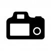 デジタル一眼レフカメラの背面の白黒シルエットイラスト