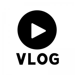 VLOG(ブイログ)の白黒シルエットイラスト