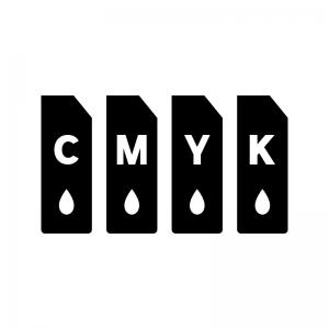 プリンターのインク(CMYK)の白黒シルエットイラスト