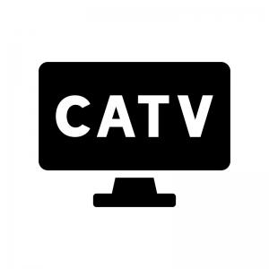CATV(ケーブルテレビ)の白黒シルエットイラスト02