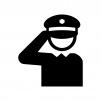 敬礼する警察官の白黒シルエットイラスト