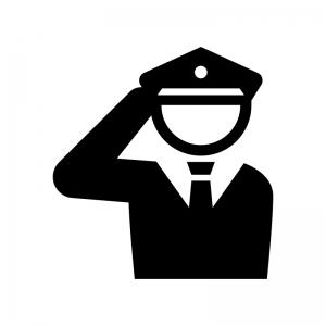敬礼する警察官の白黒シルエットイラスト02