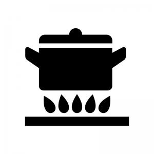 鍋とガスコンロの白黒シルエットイラスト