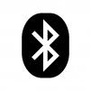 Bluetooth(ブルートゥース)マークの白黒シルエットイラスト