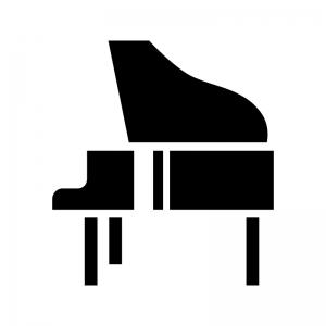 グランドピアノの白黒シルエットイラスト03