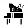 グランドピアノと音符の白黒シルエットイラスト