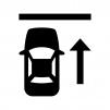 前向き駐車の白黒シルエットイラスト