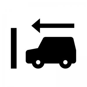 前向き駐車の白黒シルエットイラスト02