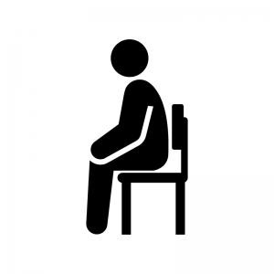 座る姿勢が良くない白黒シルエットイラスト