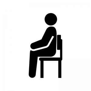 座る姿勢が良い白黒シルエットイラスト