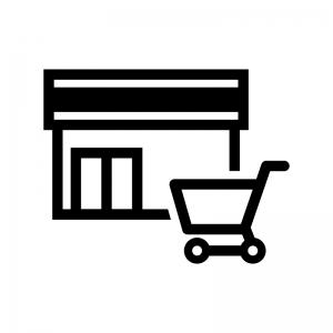 スーパーマーケットの白黒シルエットイラスト02