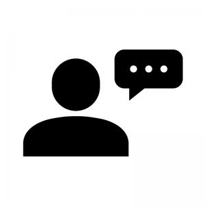 コメント・会話の白黒シルエットイラスト