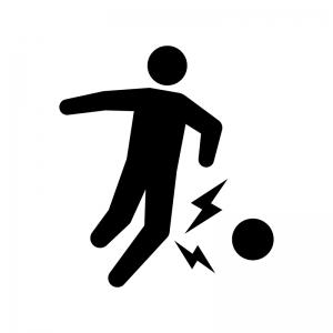 スポーツ外傷の白黒シルエットイラスト