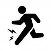 スポーツ外傷の白黒シルエットイラスト02