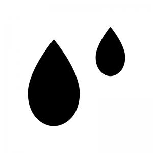 水滴の白黒シルエットイラスト
