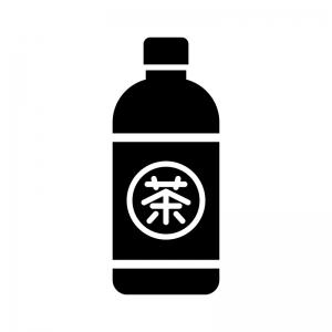 お茶のペットボトルの白黒シルエットイラスト