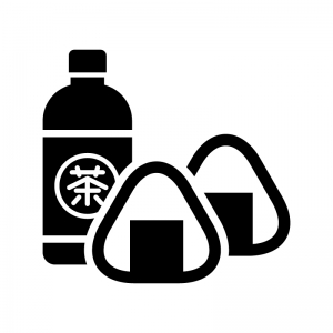 お茶のペットボトルとおにぎりの白黒シルエットイラスト