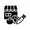 八百屋さんの白黒シルエットイラスト02