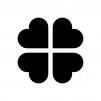 四つ葉のクローバーの白黒シルエットイラスト02