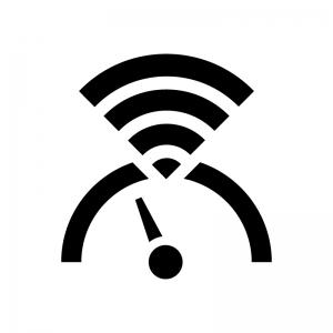 インターネット・Wi-Fiのスピード(速度)の白黒シルエットイラスト02