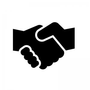 握手の白黒シルエットイラスト03