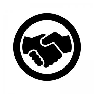 握手の白黒シルエットイラスト05