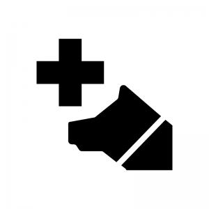 動物病院の白黒シルエットイラスト