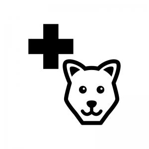 動物病院の白黒シルエットイラスト02