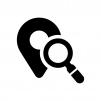 地点・ピンポイント検索の白黒シルエットイラスト