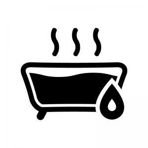 お風呂の追い炊きの白黒シルエットイラスト