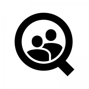 顧客・クライアントを検索の白黒シルエットイラスト02