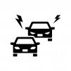 車の煽り運転の白黒シルエットイラスト