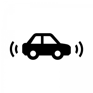 車の安全センサーの白黒シルエットイラスト