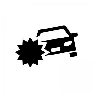 車の事故の白黒シルエットイラスト